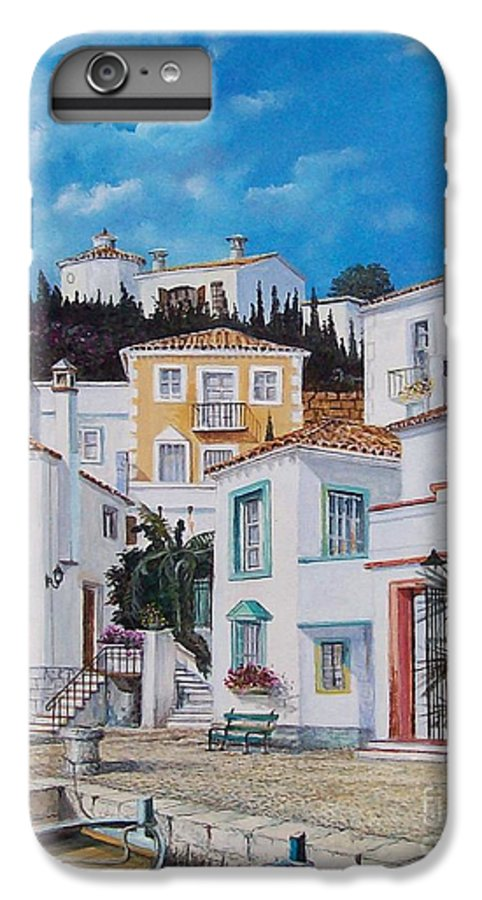Cityscape IPhone 6 Plus Case featuring the painting Afternoon Light In Montenegro by Sinisa Saratlic