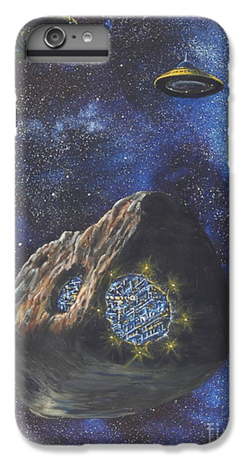 Painting IPhone 6 Plus Case featuring the painting Alien Space Factory by Murphy Elliott