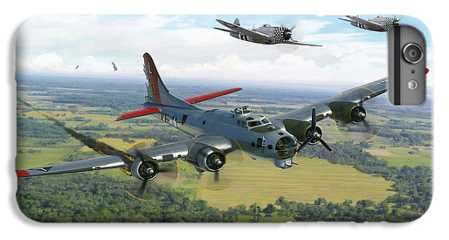 Airplane IPhone 6 Plus Case featuring the painting Almost Home B-17 Flying Fortress by Mark Karvon
