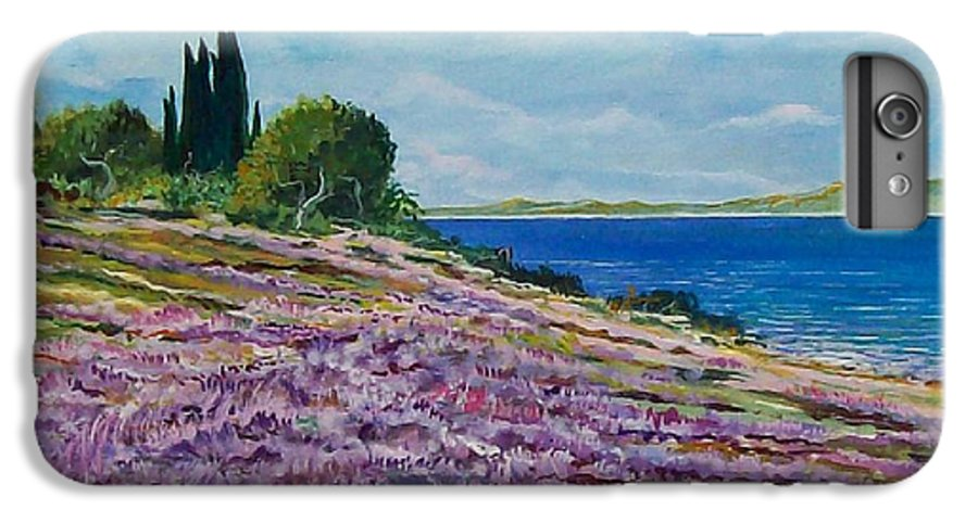 Landscape IPhone 6 Plus Case featuring the painting Along The Shore by Sinisa Saratlic