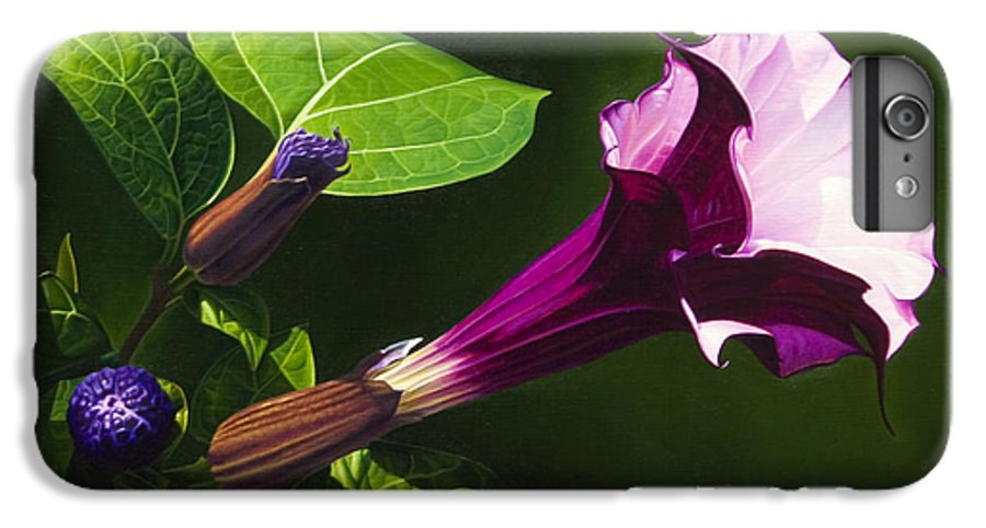 Floral IPhone 6 Plus Case featuring the painting Anastacias Datura by Gary Hernandez