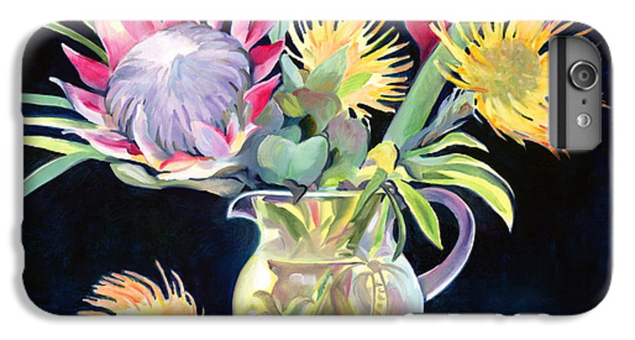 Copal Oil IPhone 6 Plus Case featuring the painting Anna's Protea Flowers Transparent by Don Jusko
