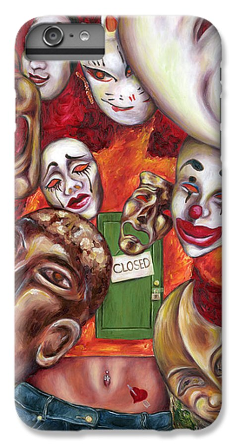 Mask IPhone 6 Plus Case featuring the painting Artist by Hiroko Sakai
