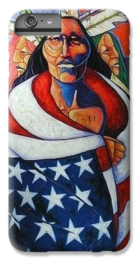 American Indian IPhone 6 Plus Case featuring the painting At The Crossroads by Joe Triano