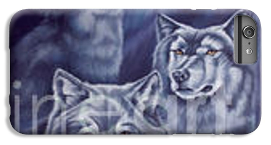 Wolf IPhone 6 Plus Case featuring the painting Aurora Wolves by Wendy Froshay