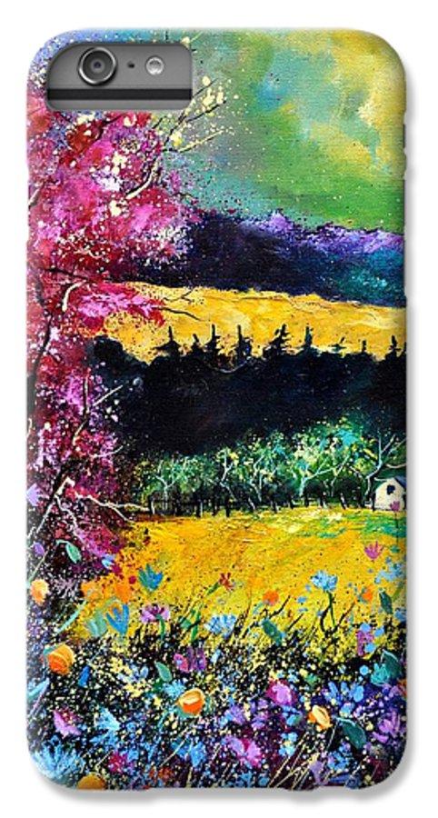 Landscape IPhone 6 Plus Case featuring the painting Autumn Flowers by Pol Ledent