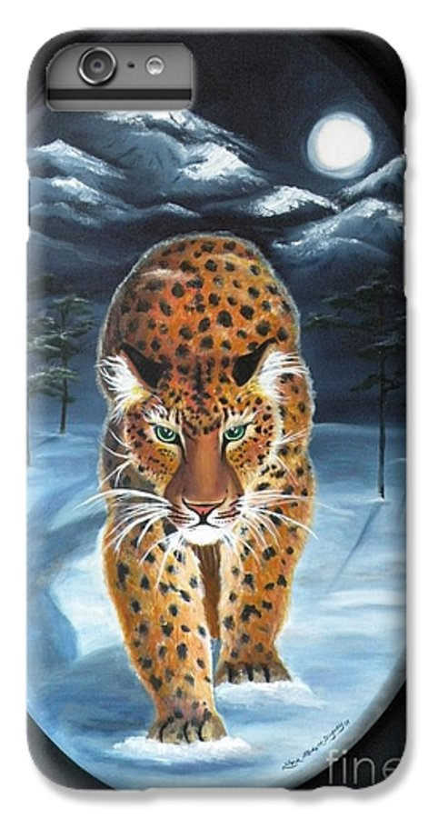 Snow Leopard IPhone 6 Plus Case featuring the painting Batukhan Snow Leopard by Lora Duguay