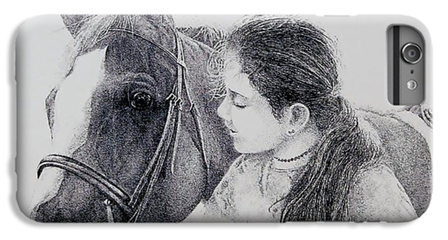 Pets Horses Horseback Riding Children IPhone 6 Plus Case featuring the painting Best Friends by Tony Ruggiero