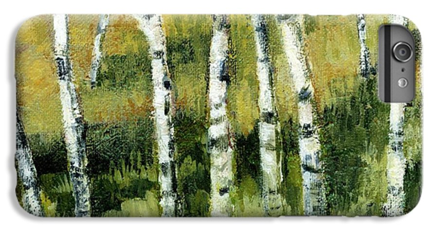 Trees IPhone 6 Plus Case featuring the painting Birches On A Hill by Michelle Calkins