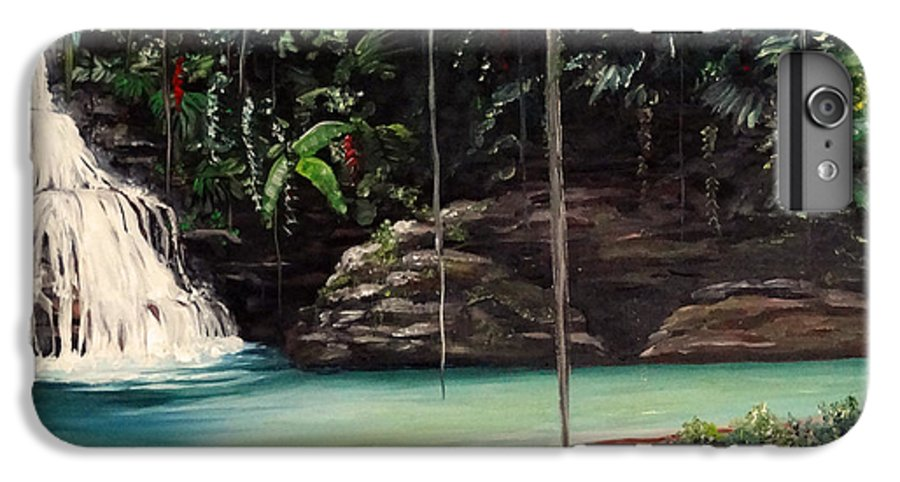Tropical Waterfall IPhone 6 Plus Case featuring the painting Blue Basin by Karin Dawn Kelshall- Best
