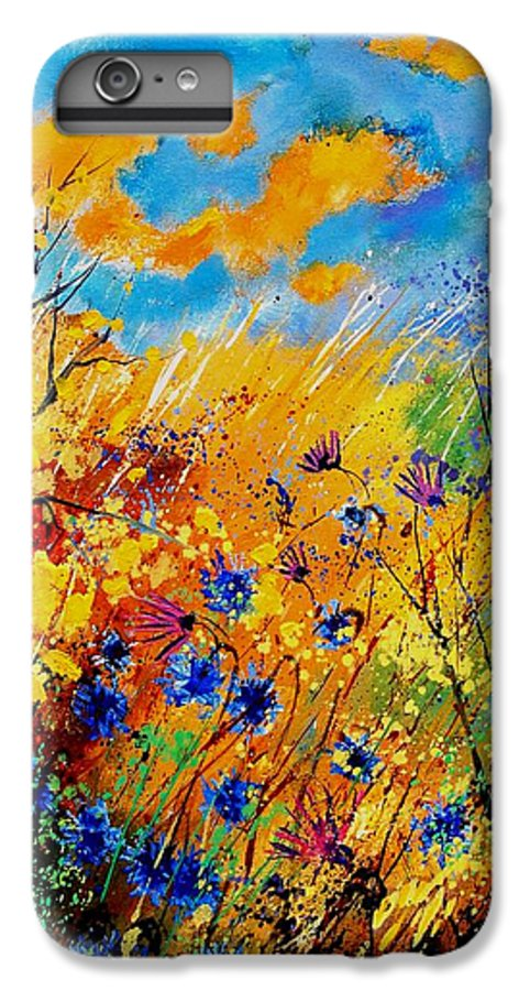 Poppies IPhone 6 Plus Case featuring the painting Blue Cornflowers 450408 by Pol Ledent