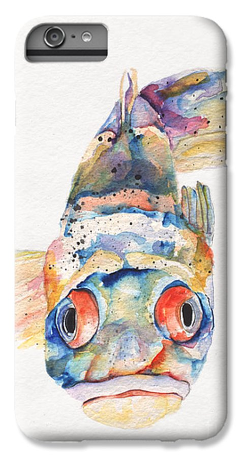 Pat Saunders-white IPhone 6 Plus Case featuring the painting Blue Fish  by Pat Saunders-White
