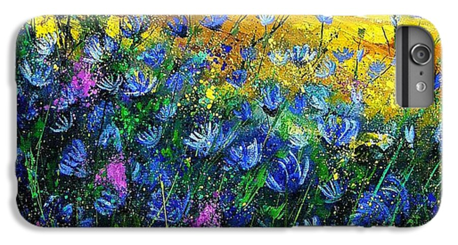 Flowers IPhone 6 Plus Case featuring the painting Blue Wild Chicorees by Pol Ledent