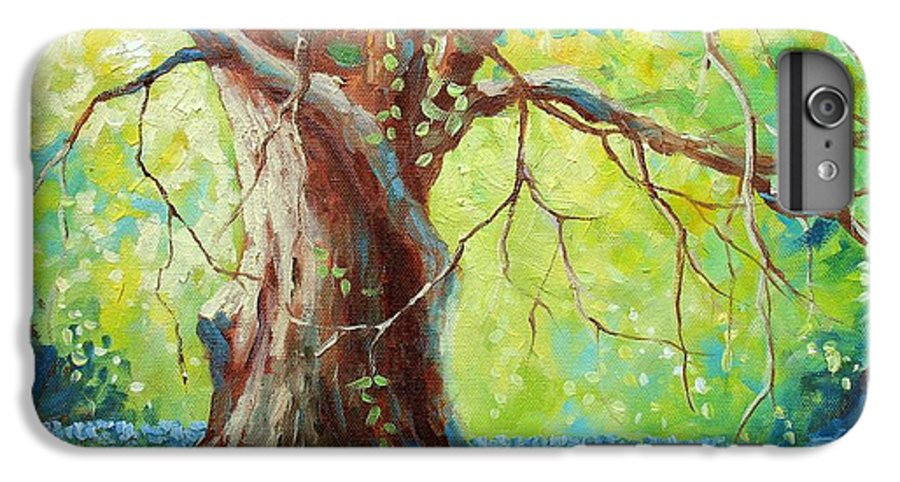 Bluebonnets IPhone 6 Plus Case featuring the painting Bluebonnets Under The Oak by David G Paul