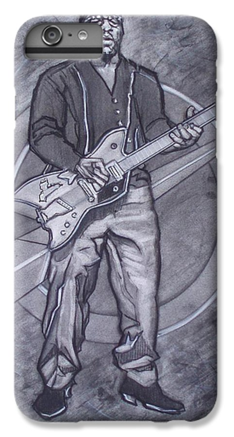 Texas;charcoal;king Of Rock;rock And Roll;music;1950s;blues;musician;funk;electric Guitar;marble;soul IPhone 6 Plus Case featuring the drawing Bo Diddley - Have Guitar Will Travel by Sean Connolly