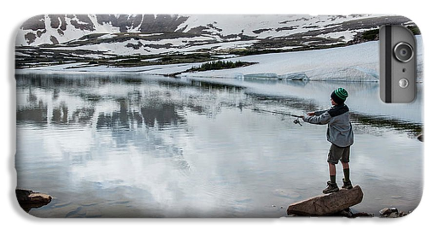 Knit Hat IPhone 6 Plus Case featuring the photograph Boys Fish In Superior Lake During A Six by Beth Wald