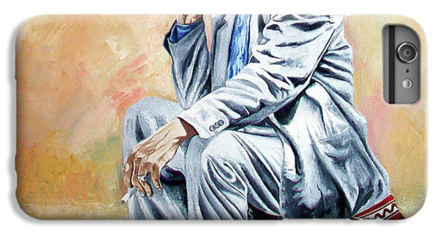 Figurative IPhone 6 Plus Case featuring the painting Break For Smoking - Apeadero Para Fumar by Rezzan Erguvan-Onal