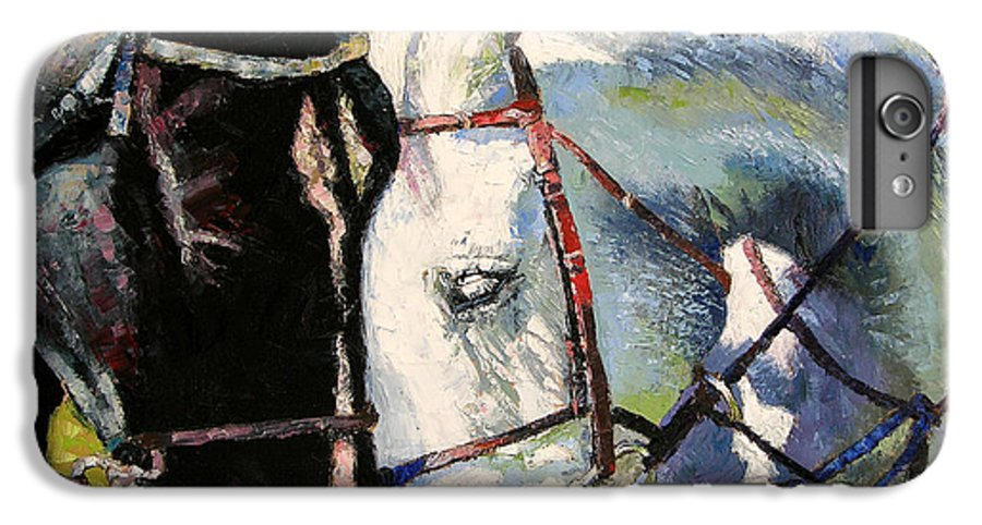 Horses IPhone 6 Plus Case featuring the painting Bridled Love by John Lautermilch
