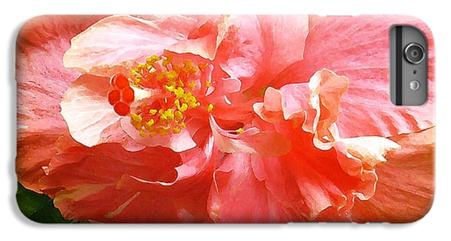 Hibiscus IPhone 6 Plus Case featuring the digital art Bright Pink Hibiscus by James Temple