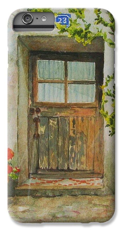 Door IPhone 6 Plus Case featuring the painting Brittany Door by Mary Ellen Mueller Legault