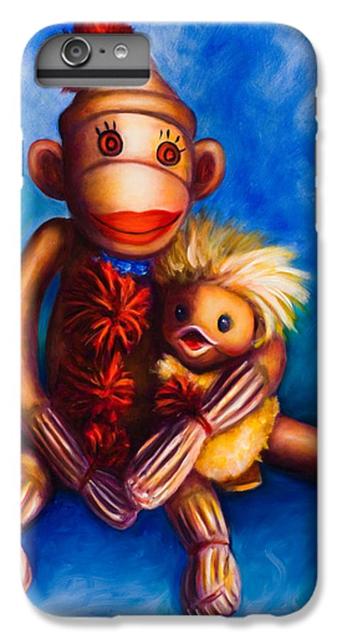 Sock Monkeys Brown IPhone 6 Plus Case featuring the painting Buddies by Shannon Grissom