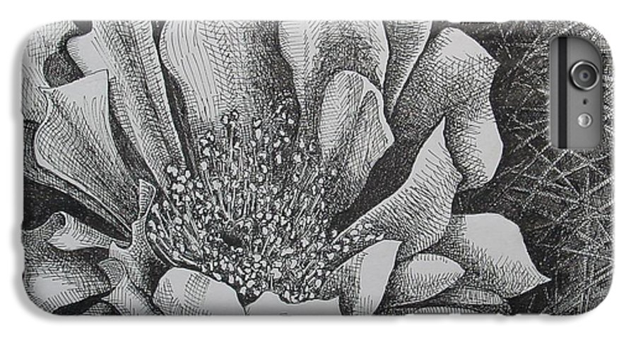 Flowers IPhone 6 Plus Case featuring the drawing Cactus Flower by Denis Gloudeman