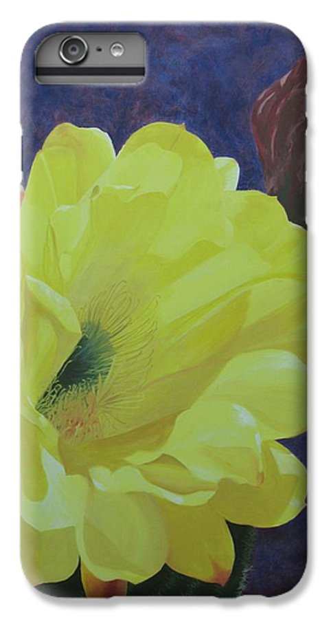 Argentine Cactus Bloom IPhone 6 Plus Case featuring the painting Cactus Morning by Janis Mock-Jones