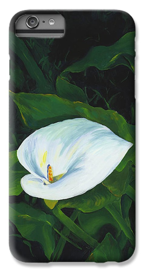 Calla Lily IPhone 6 Plus Case featuring the painting Calla Lily In The Garden Of Diego And Frida by Judy Swerlick