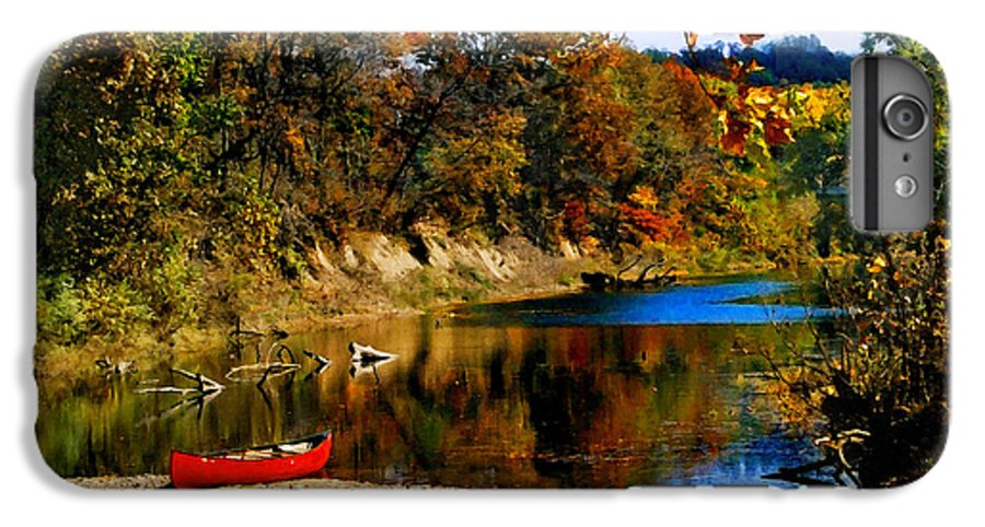 Autumn IPhone 6 Plus Case featuring the photograph Canoe On The Gasconade River by Steve Karol