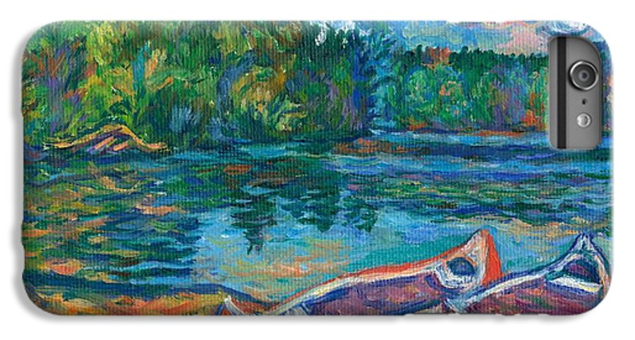 Landscape IPhone 6 Plus Case featuring the painting Canoes At Mountain Lake Sketch by Kendall Kessler