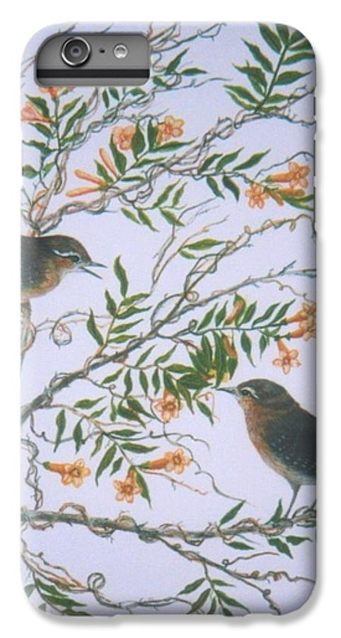 Bird; Flowers IPhone 6 Plus Case featuring the painting Carolina Wren And Jasmine by Ben Kiger