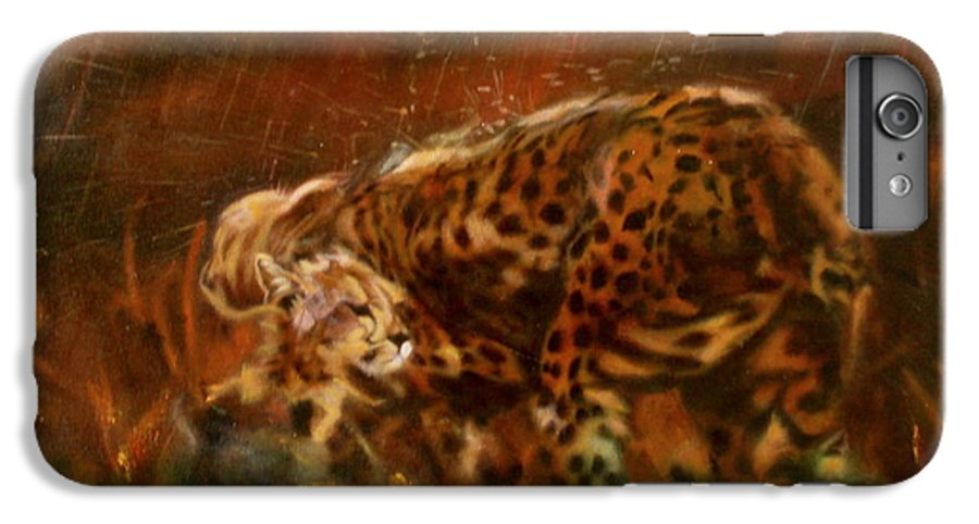 Rain;water;cats;africa;wildlife;animals;mother;shelter;brush;bush IPhone 6 Plus Case featuring the painting Cheetah Family After The Rains by Sean Connolly