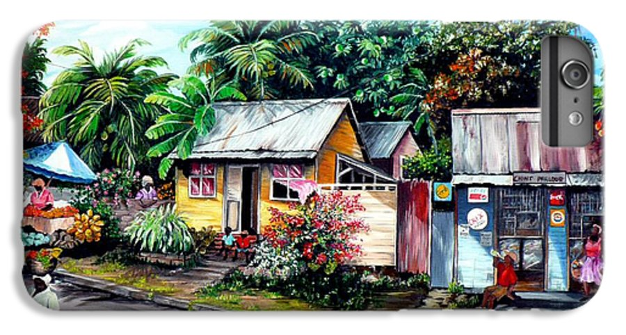 Landscape Painting Caribbean Painting Shop Trinidad Tobago Poinciana Painting Market Caribbean Market Painting Tropical Painting IPhone 6 Plus Case featuring the painting Chins Parlour   by Karin Dawn Kelshall- Best