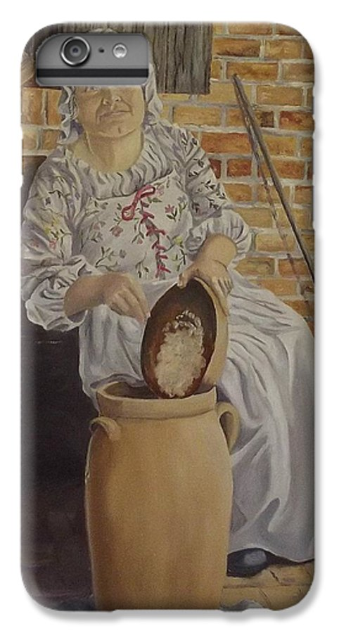 Historic IPhone 6 Plus Case featuring the painting Churning Butter by Wanda Dansereau