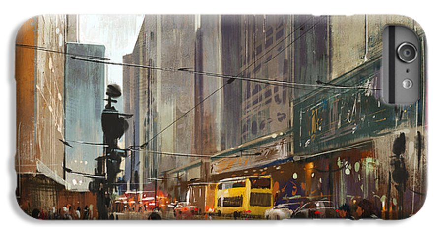 Bus IPhone 6 Plus Case featuring the digital art City Street Digital by Tithi Luadthong