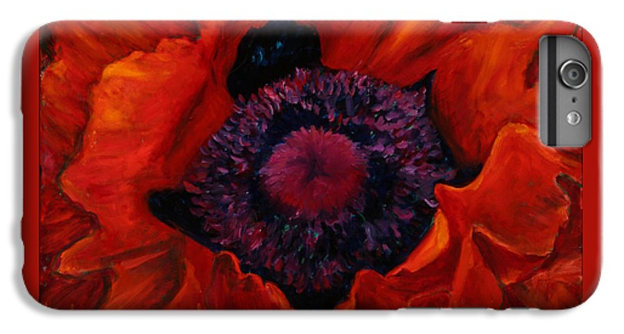 Red Poppy IPhone 6 Plus Case featuring the painting Close Up Poppy by Billie Colson