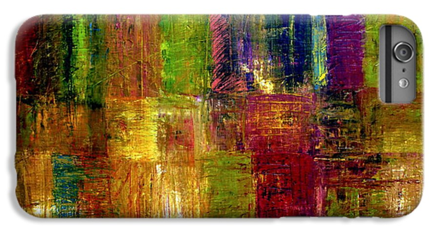 Abstract IPhone 6 Plus Case featuring the painting Color Panel Abstract by Michelle Calkins