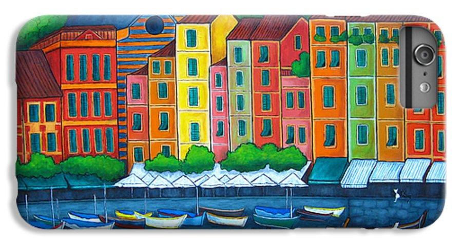 Portofino IPhone 6 Plus Case featuring the painting Colours Of Portofino by Lisa Lorenz