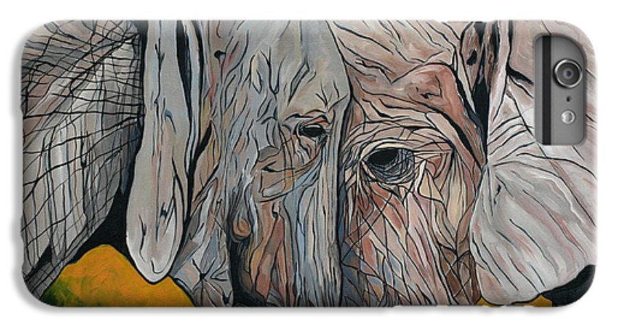 Elephant IPhone 6 Plus Case featuring the painting Comfort by Aimee Vance