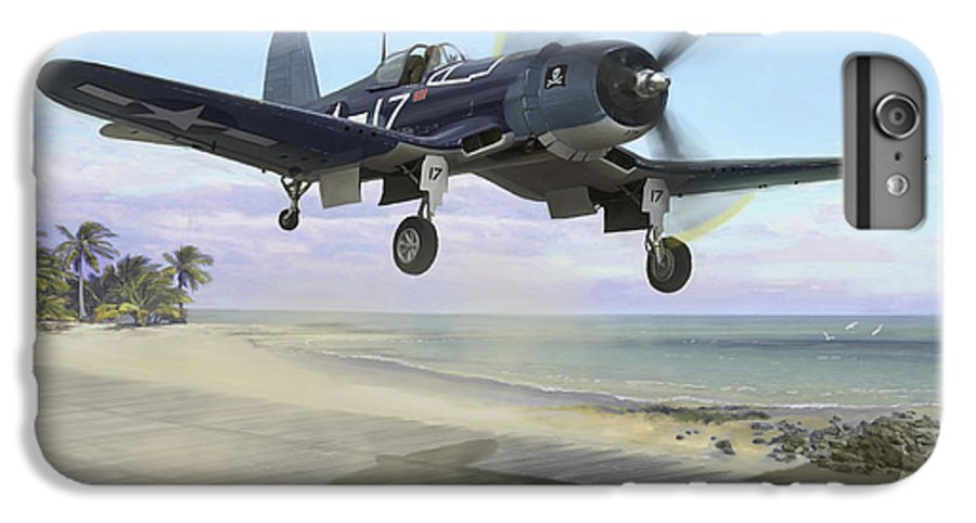 Airplane IPhone 6 Plus Case featuring the painting Corsair Takeoff Vf-17 Jolly Rogers by Mark Karvon