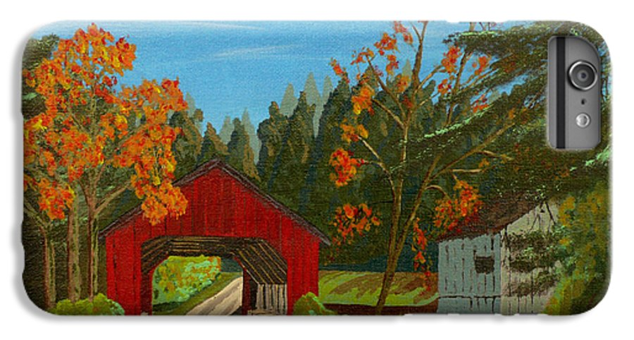 Path IPhone 6 Plus Case featuring the painting Covered Bridge by Anthony Dunphy