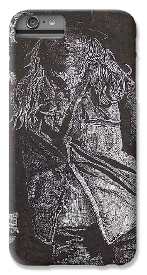 Figurative IPhone 6 Plus Case featuring the drawing Cowgirl by Denis Gloudeman