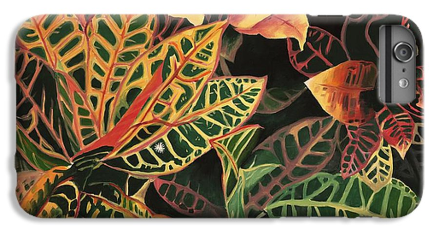 Croton Leaves IPhone 6 Plus Case featuring the painting Croton Leaves by Judy Swerlick
