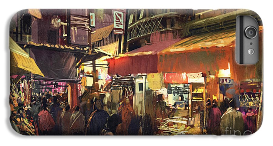 City IPhone 6 Plus Case featuring the photograph Crowd Of People Walking In The Market by Tithi Luadthong
