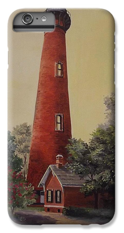 Lighthouse IPhone 6 Plus Case featuring the painting Currituck Lighthouse by Wanda Dansereau