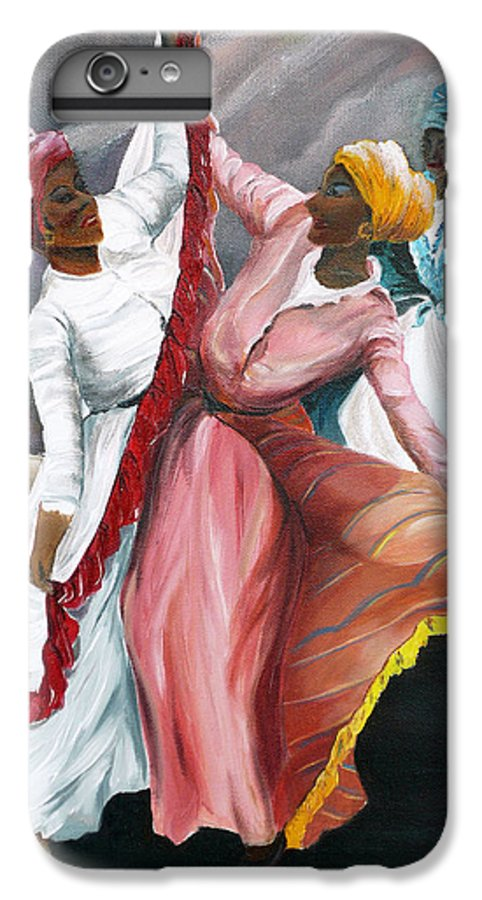Dancers Folk Caribbean Women Painting Dance Painting Tropical Dance Painting IPhone 6 Plus Case featuring the painting Dance The Pique 2 by Karin Dawn Kelshall- Best