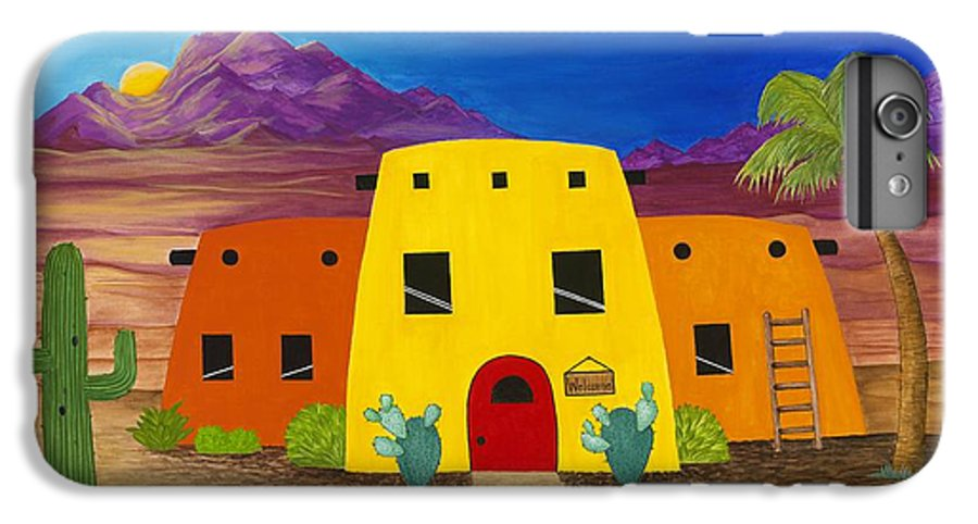 Whimsicle Desert Inn Has Vacancy IPhone 6 Plus Case featuring the painting Desert Oasis by Carol Sabo
