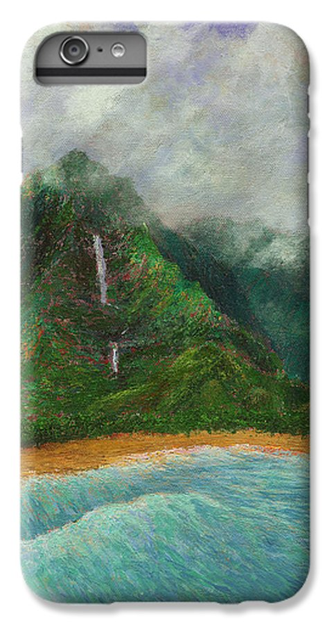 Coastal Decor IPhone 6 Plus Case featuring the painting Distant Falls by Kenneth Grzesik