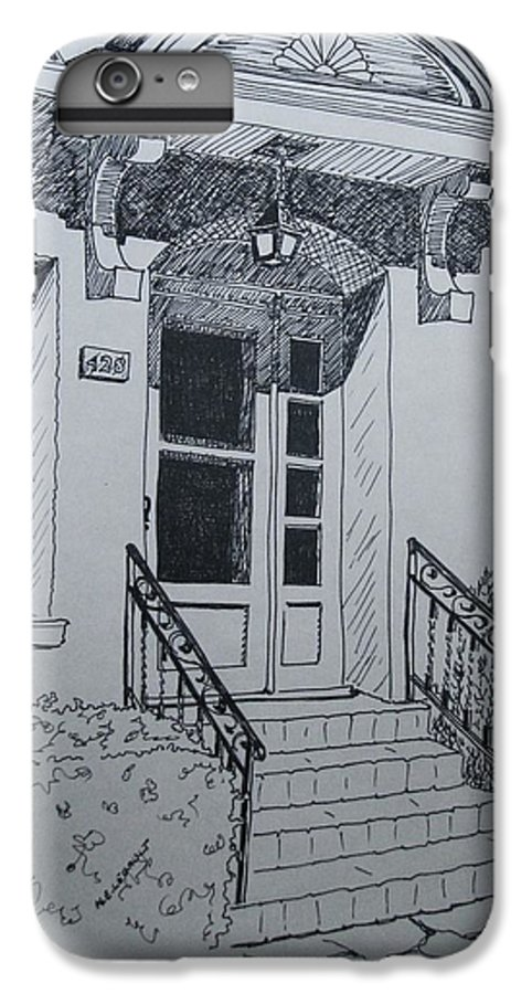 Pen And Ink IPhone 6 Plus Case featuring the drawing Doorway by Mary Ellen Mueller Legault