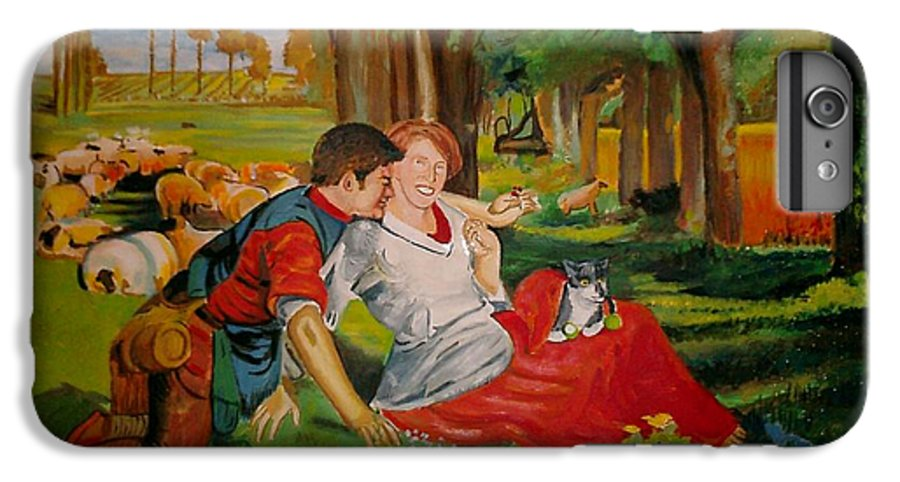 IPhone 6 Plus Case featuring the painting double portrait of freinds Gunner and Jessie by Jude Darrien